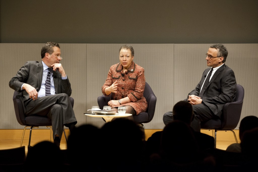 Anthony Marx, Beverly Daniel Tatum '75 and Michael Roth at the New York Public Library